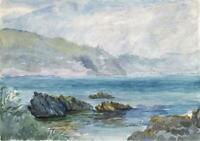 LOUISA RUSSELL SALMON Antique Watercolour Painting ROCKY COASTLINE c1928 SEA