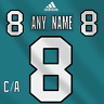 San Jose Sharks NHL Adidas Dark Jersey Any Name Any Number Pro Lettering Kit