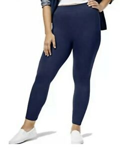 First Looks By Hue Women's  Seamless Leggings Navy 1X - NWT
