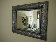 Large Embossed Rectangular Wall Mounted Mirror Black Silver Decorative Antique