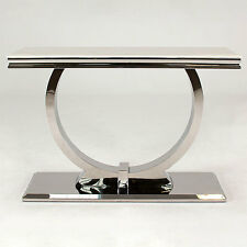 New Stunning Rani Marble & Chrome `O` Console Table