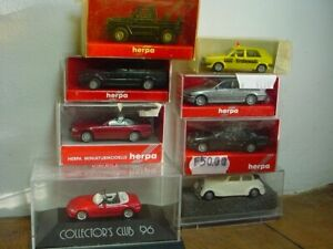 HERPA /WIKING /PRALINE LOT DE 8 VEHICULES DIFFERENTS (BMW,MB,VW)