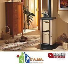 """Stufa cucina a legna in acciaio """"mignon"""" nordica extraflame cappuccino 4kw 115mc"""