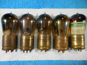 Group of FIVE close matched Radiotron 01-A RAINBOW globe tubes, used.