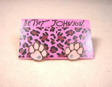 Betsey Johnson Dog Footprint Paw Cartoon Punk Crystal Girl's Gold Stud Earrings