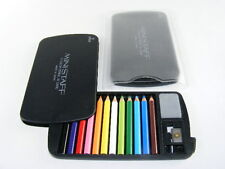 Be-Goody 12 mini pencils in plastic card with sharpener eraser, Black.