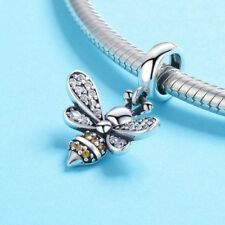 QUEEN BEE - Solid 925 sterling silver - CZ - European dangle bead charm- Pendant