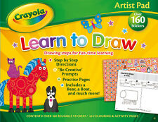 CRAYOLA ARTIST PAD LEARN TO DRAW DRAWING STEPS ACTIVITY PAD KIDS CHILDREN LEARN