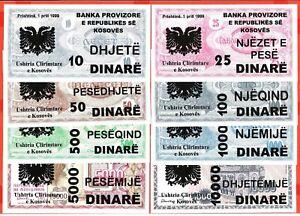 Yugoslavia,Kosovo complete set of 8 banknotes in 1999. UNC