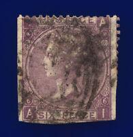 1867 SG105 6d Deep Lilac (Hyphen) Plate 6 J75(2) AI Misperf Used Cat £175 ckbl