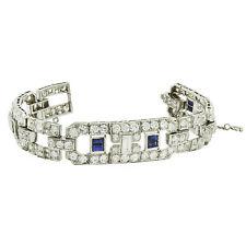 Platinum Diamond Sapphire Art Deco Antique Bracelet 10.00ct TDW 41.8 GRAMS