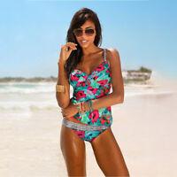 Women Blouson Sporty Tankini Set Swimwear Two Piece Swimsuit Bikini Plus Size