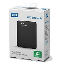 "WESTERN DIGITAL Disque dur externe portable 2.5"" WD Elements 2 To Noir NEUF !"