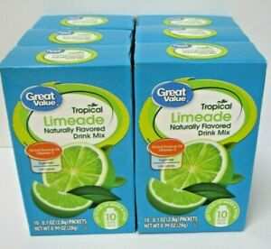 6 Pack Lot Great Value Tropical Limeade Naturally Flavored Drink Mix 60 packets