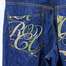 Roca Wear Blue Jeans Size 36 Embellished Back Pockets with Embroidery Rocawear