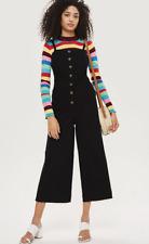 TopShop Petite Black Horn Button Jumpsuit Size 8 Brand New