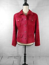 Chicos Womens 1 Red Pink Cherry Genuine Leather Suede Button Down Jacket Coat