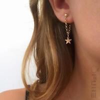 Pair of Women's 18K Gold Plated Celebrity Stars  Ear Studs Drop Dangle Earrings