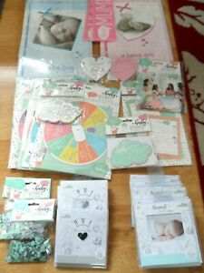 JOB LOT OF 45 ASSORTED BABY SHOWER ITEMS, ANNOUNCEMENT CARDS, PHOTO FRAME CARDS