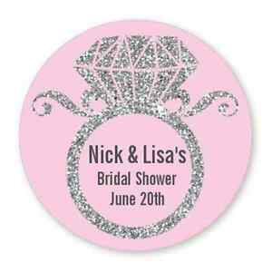 Engagement Ring Silver Glitter -Round Personalized Bridal Shower/Wedding Sticker