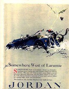 1923 Somewhere West of Laramie Rare alternate Ad for Jordan Automobiles (Repro)