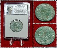 Ancient Roman Empire Coin TRAJAN Column On Reverse SPQR OPTIMO PRINCIPI