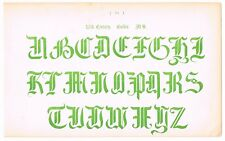 ANTIQUE PRINT VINTAGE 1889 TYPOGRAPHY LETTERING TATTOO 16TH CENTURY GOTHIC