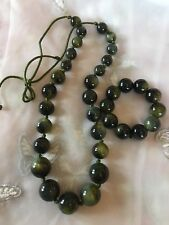 Beaded Necklace & Bracelet In Dark Green Plastic Beads Marble Like Necklace 20""