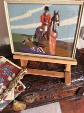 Antique hand stitch embroidery horse hunting framed picture