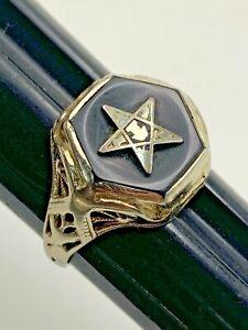Eastern Star Ladies Ring 14K Gold 2.5g Vintage Freemasons Masons Masonic Size 4