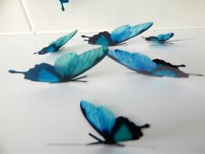 Turquoise 3d butterfly stickers,table decorations,conservatory,hand crafted,