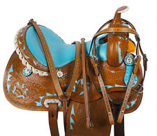 NEW PRO BLUE BARREL RACING WESTERN TRAIL HORSE LEATHER SADDLE TACK 14 15 16