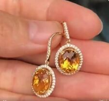 5Ct Oval Cut Yellow Citrine Halo Drop & Dangle Earrings 14K White Gold Finish