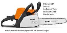 """Stihl Kettensäge MS 170 30mm Schwert 3/8"""" Kette im Set Gesichtsschutz Handschuhe"""