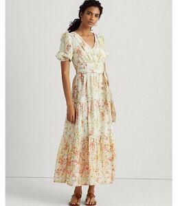 Lauren Ralph Lauren Floral Cotton Puffed Sleeve Ankle Length Dress Size 16