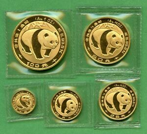 PANDA GOLD  1983  SET   CHINA  1 OZ,  1/2 OZ, 1/4 OZ,  1/10 OZ, 1/20 OZ,     OMP
