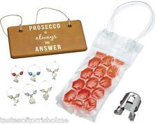 Bar Craft by Kitchen Craft Nine Piece Prosecco Gift Set Cool Bag Stopper Charms