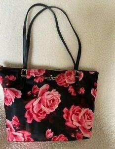 Kate Spade New York Black Pink Roses Gold Hardware Beautiful Leather