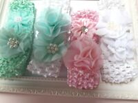 CROCHET HEADBANDS WITH 2 FLOWERS ONE WITH PEARLS 4 OTHER COLOURS ON