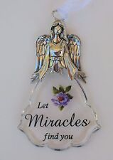 f Let Miracles find you Faith & Flowers ANGEL ORNAMENT car charm Ganz