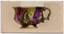 Antique Russian Fluted Edge Ceramic Teacup 1920s Ad Trade Card