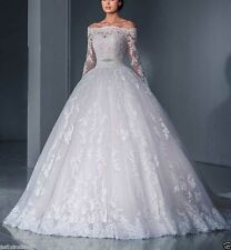 Vintage Lace Applique White Ivory Wedding Dress Bridal Ball Gown Custom Size