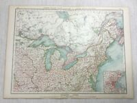 1899 Antique Map of the United States Boston South East Canada Old 19th Century
