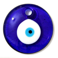 """Blue Evil Eye Glass Hamsa Protection Amulet Luck Wall Hanging Decoration 4 1/4"""""""