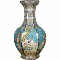 Chinese Colour Enamels Porcelain Vase Gild Flower Bird Six Sides Design 10 inch