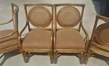 Set of (6) High-End Bamboo Rattan Upholstered Dining Armchairs Captains Chairs