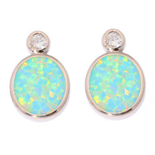 "Green White Opal CZ Silver for Women Jewelry Gems Stud Earrings 3/4"" OH4339-40"