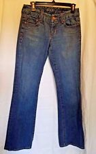 GUESS PREMIUM JEANS STRAIGHT LEG DENIM WOMENS 27 X 26 stretch Leather Patch Logo