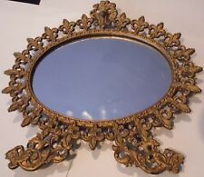 VinTaGe French DeFleur Antique Style Cast Iron Mirror Stand Vanity Counter Old