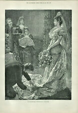 Antique B&W Illustrated Print Drawing Room Photographing A Debutante 1893